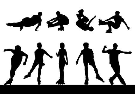 Roller silhouettes Stock Vector - 17694664