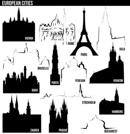 Cities of Europe Vector