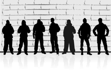 jovenes en grupo: siluetas de los hombres Vectores
