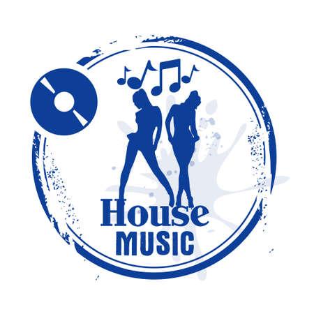 musica electronica: Sello de la m�sica de la casa Vectores