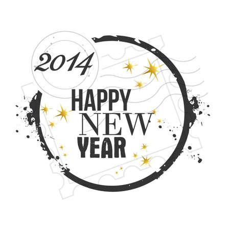 happy new year stamp: sello feliz a�o nuevo