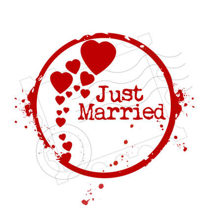 stamp Just Married Vector