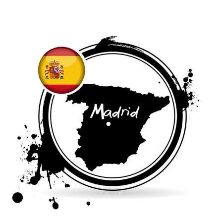 sangria: stamp Madrid Illustration