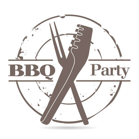 stamp BBQ Party Vector