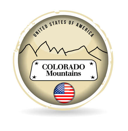 colorado mountains: stamp Colorado Mountains Illustration