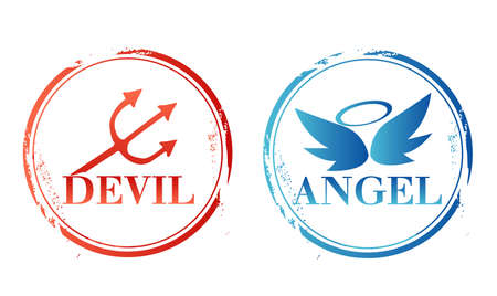 stamp angel and devil Vector