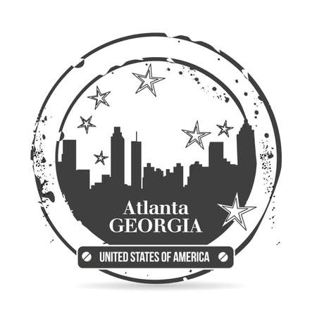 stamp Atlanta, capital of Georgia Vector