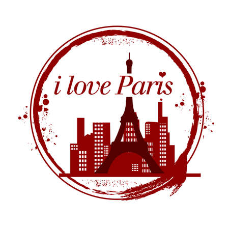 stamp i love paris Vector