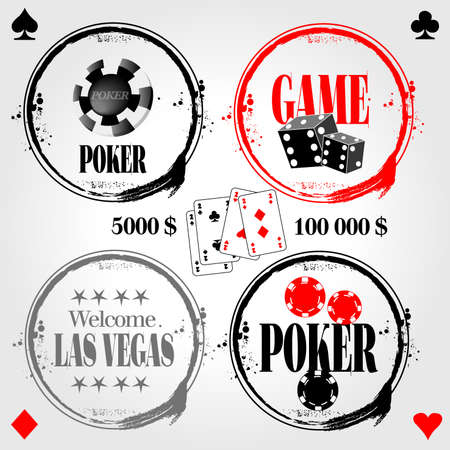stamp of poker and game Vector