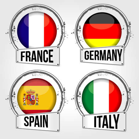 flags of 4 european countries Vector