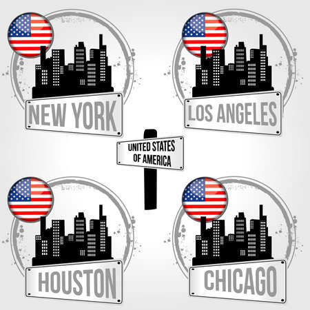 Stamps of 4 cities in USA Vector