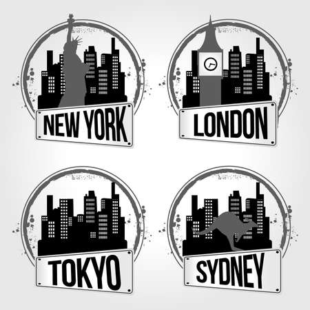 stamps of 4 cities in the world Vector