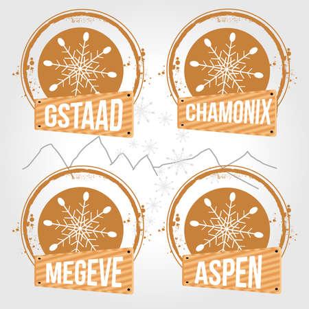 alpes suizos: sellos para los deportes de invierno