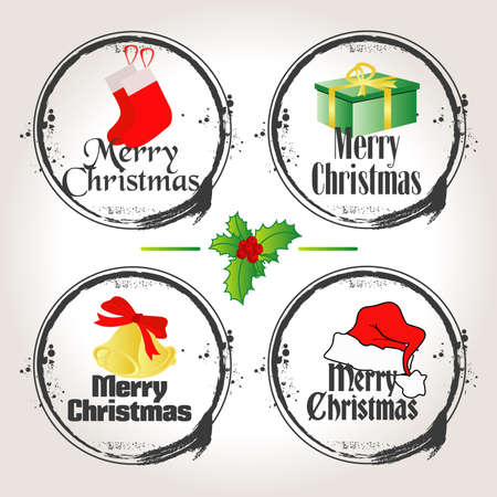 stamps of merry christmas Vector
