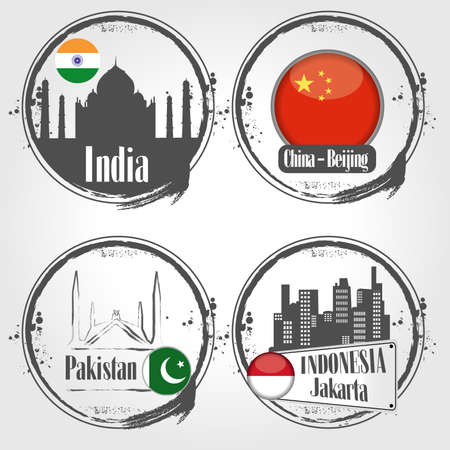 islamabad: stamps of Asian Countries Illustration