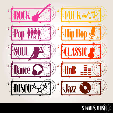 rnb: set of music stamps