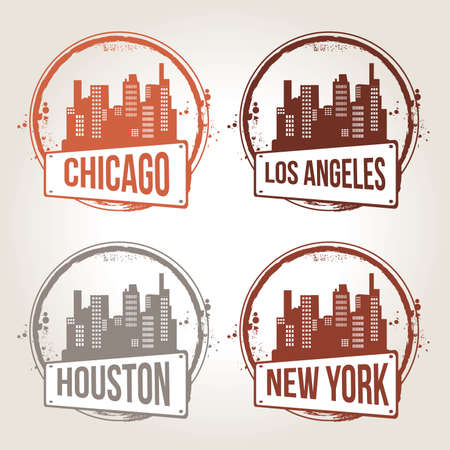 stamps of 4 american cities Vector