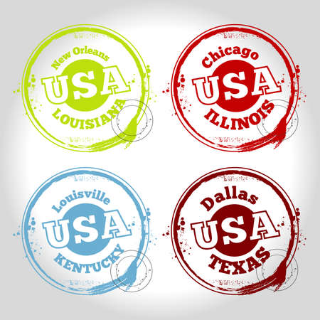 stamps USA countries Vector