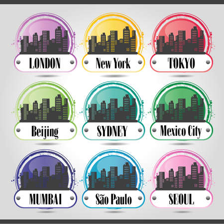 pictogramm: stamp of big cities Illustration