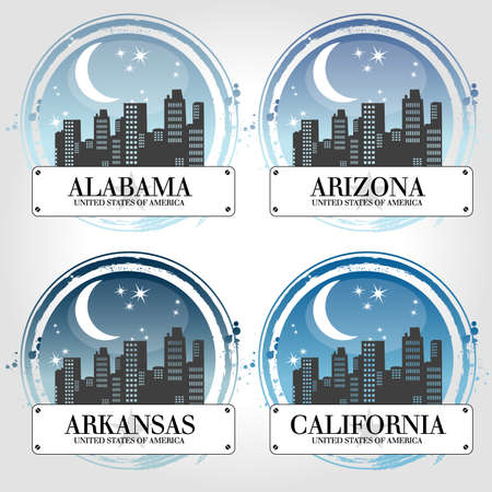 Stamp of 4 american countries Vector