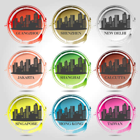 9 stamps of Asian Cities Vector