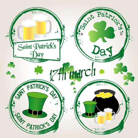 saint patrick��s day: Stamp saint patrick s day
