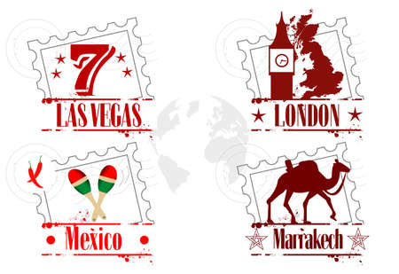mexico city: stamps travel Illustration