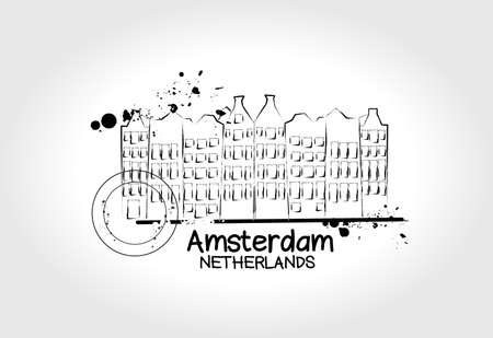 Amsterdam city illustration  Vector