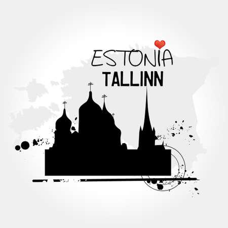 Tallinn, capital of Estonia illustration  Vector