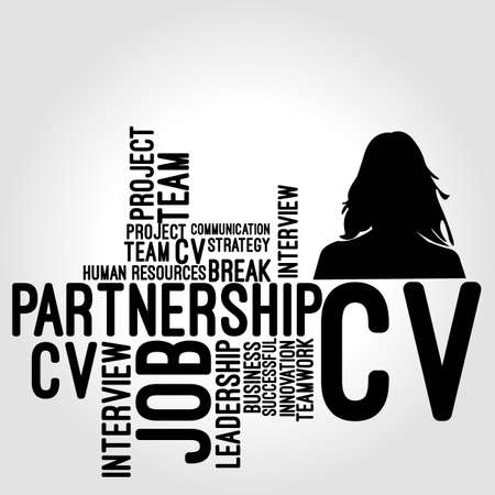 curriculum: woman cv Illustration