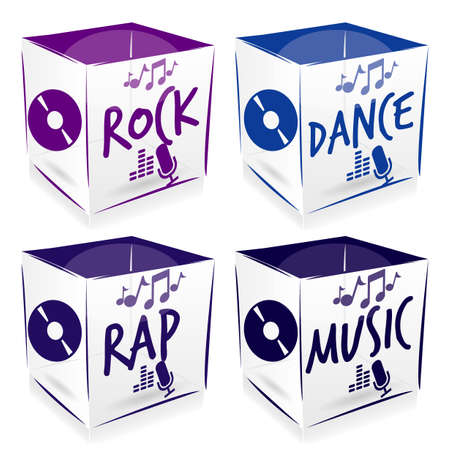 4 cube music style Vector