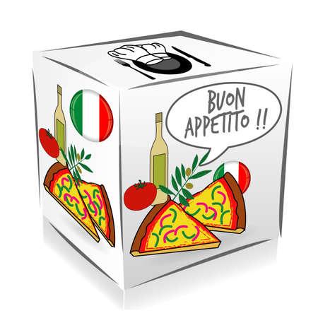 bon: Bon apetito in italian cube Illustration