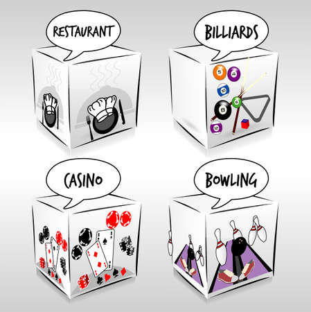 4 free time activities cubes Vector