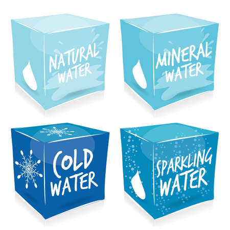 4 water cubes Vector