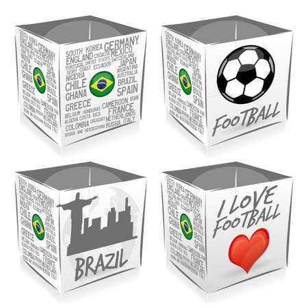 4 football cubes Vector