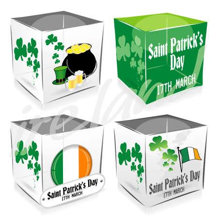 4 saint patricks day cubes Vector