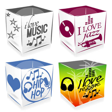 4 music cubes Vector