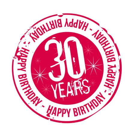 celebracion cumplea�os: sello Feliz cumplea�os 30 a�os