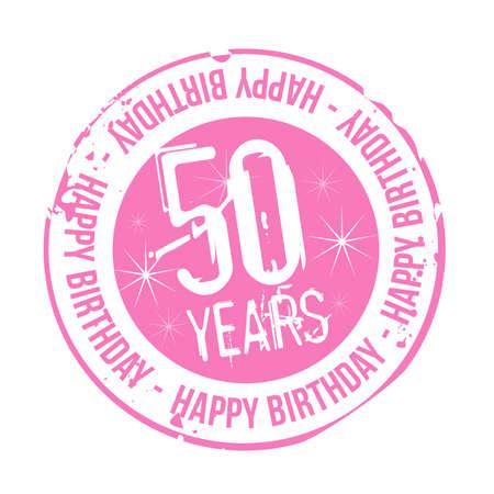 stamp Happy Birthday 50 years Vector