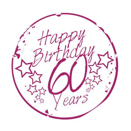 stamp Happy Birthday 60 years Vector