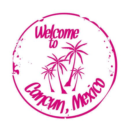 stamp Cancun Vector
