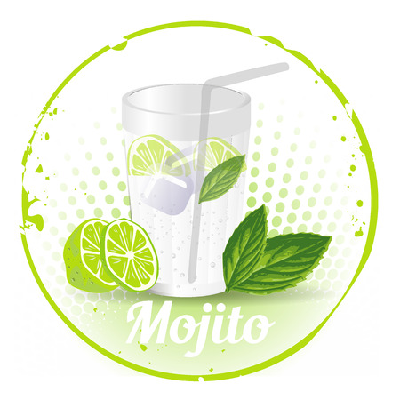 havana cuba: Stamp Mojito Illustration