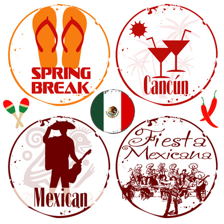 4 stamps Mexico Vector