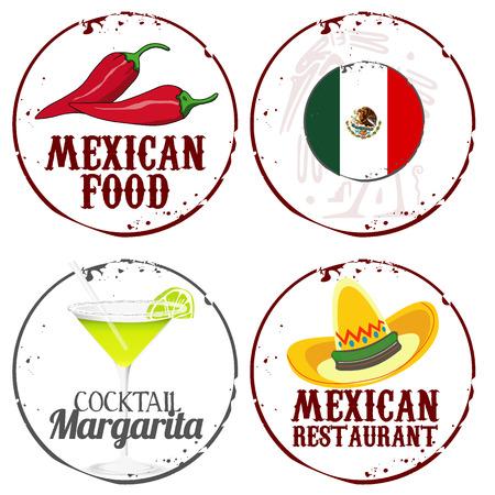 bandera mexicana: Alimento Mexicano Vectores