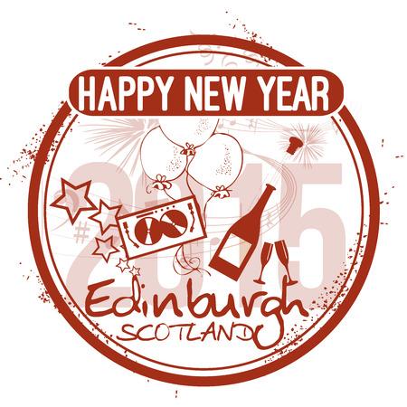 edinburgh: Frohes Neues Jahr in Edinburgh Illustration