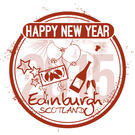 Happy New Year in Edinburgh Vector