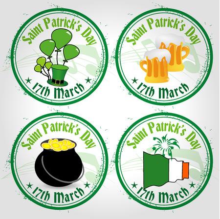 4 stamps Saint Patrick\ Vector