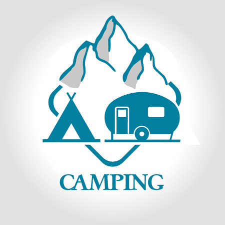 stamp camping Vector