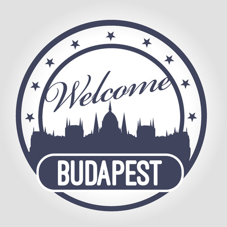 stamp welcome to Budapest Vector