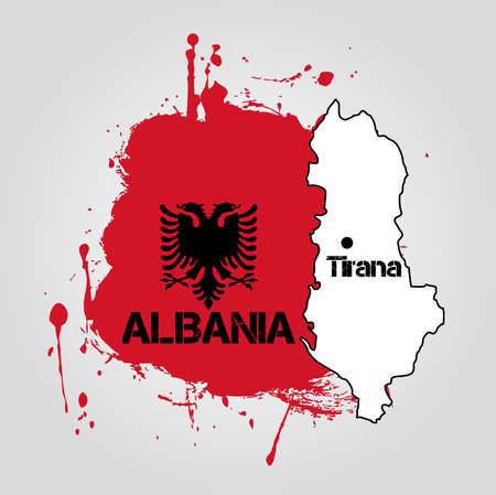 albanie: Albanie Carte Illustration